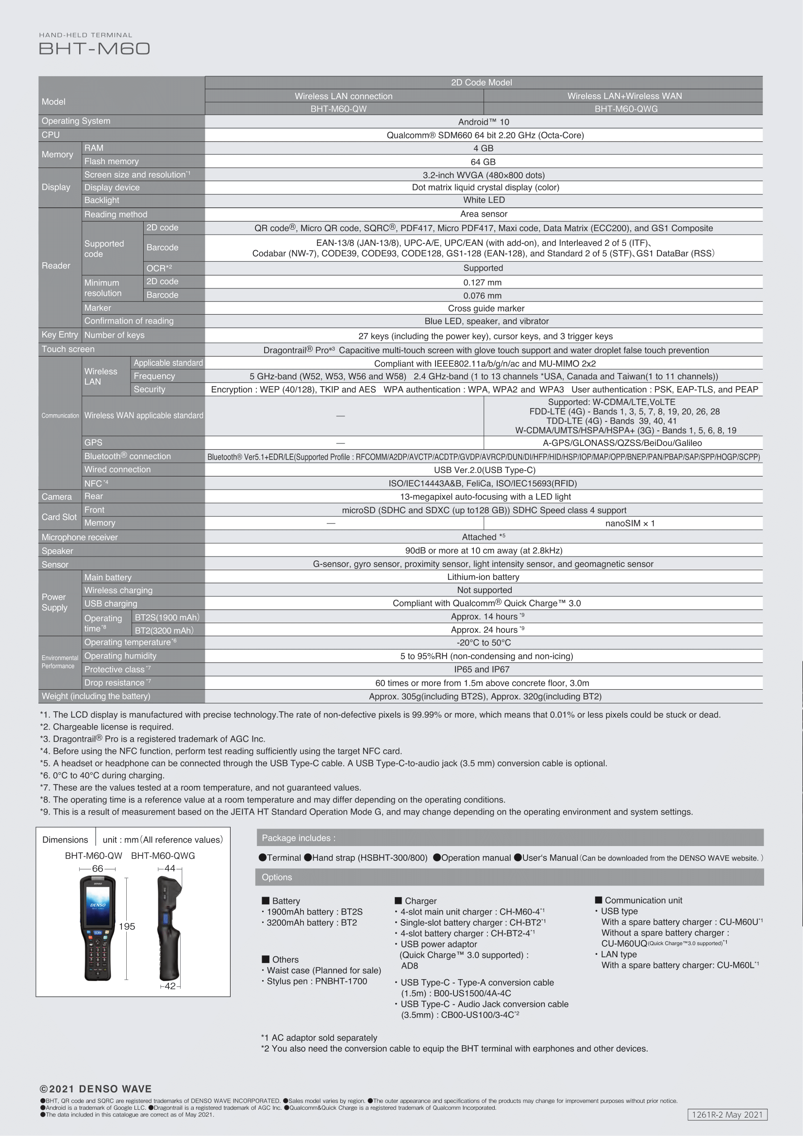 Denso BHT-M60 Specifications